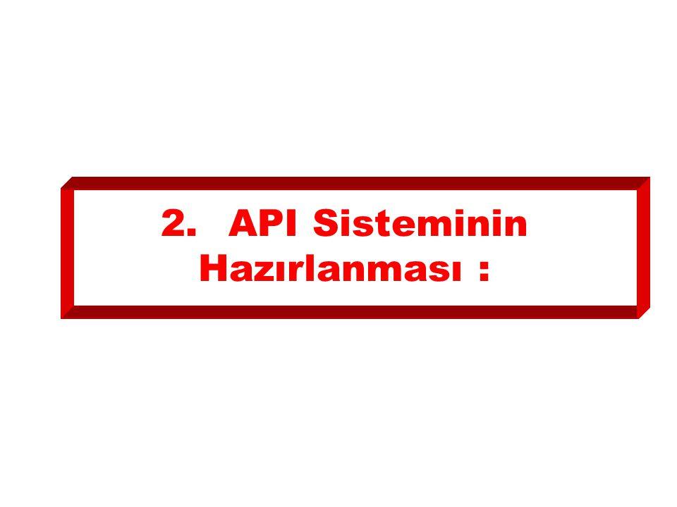 2.API Sisteminin Hazırlanması :