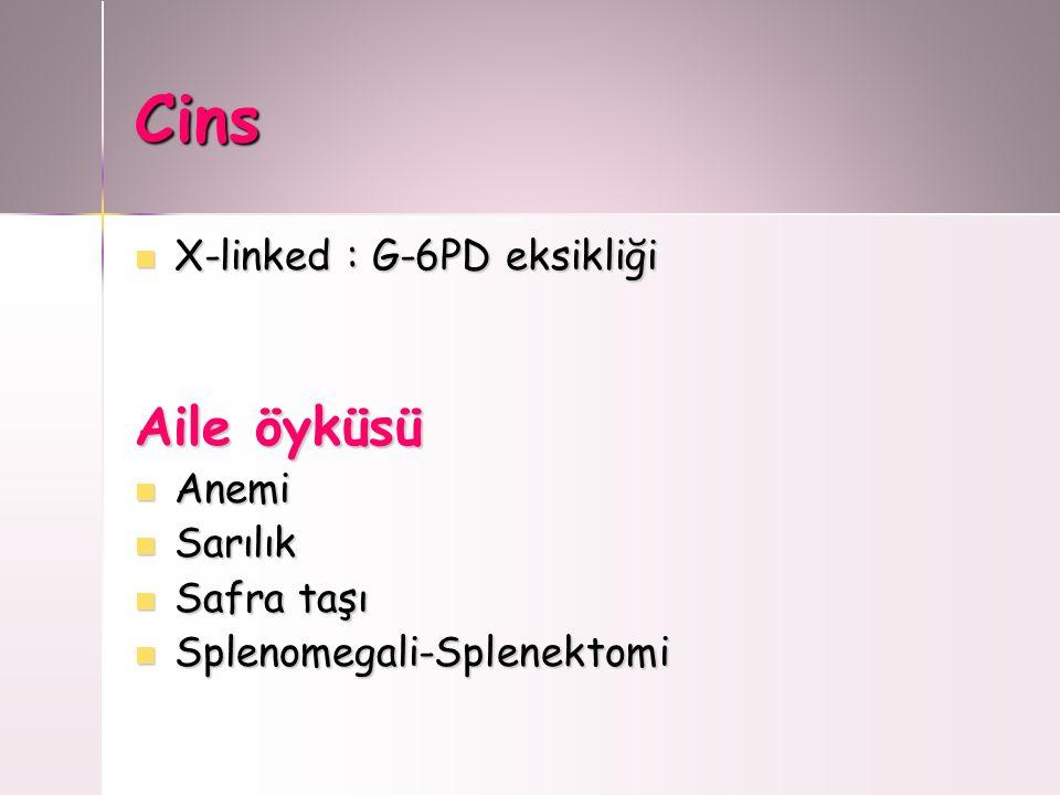 Cins X-linked : G-6PD eksikliği X-linked : G-6PD eksikliği Aile öyküsü Anemi Anemi Sarılık Sarılık Safra taşı Safra taşı Splenomegali-Splenektomi Sple