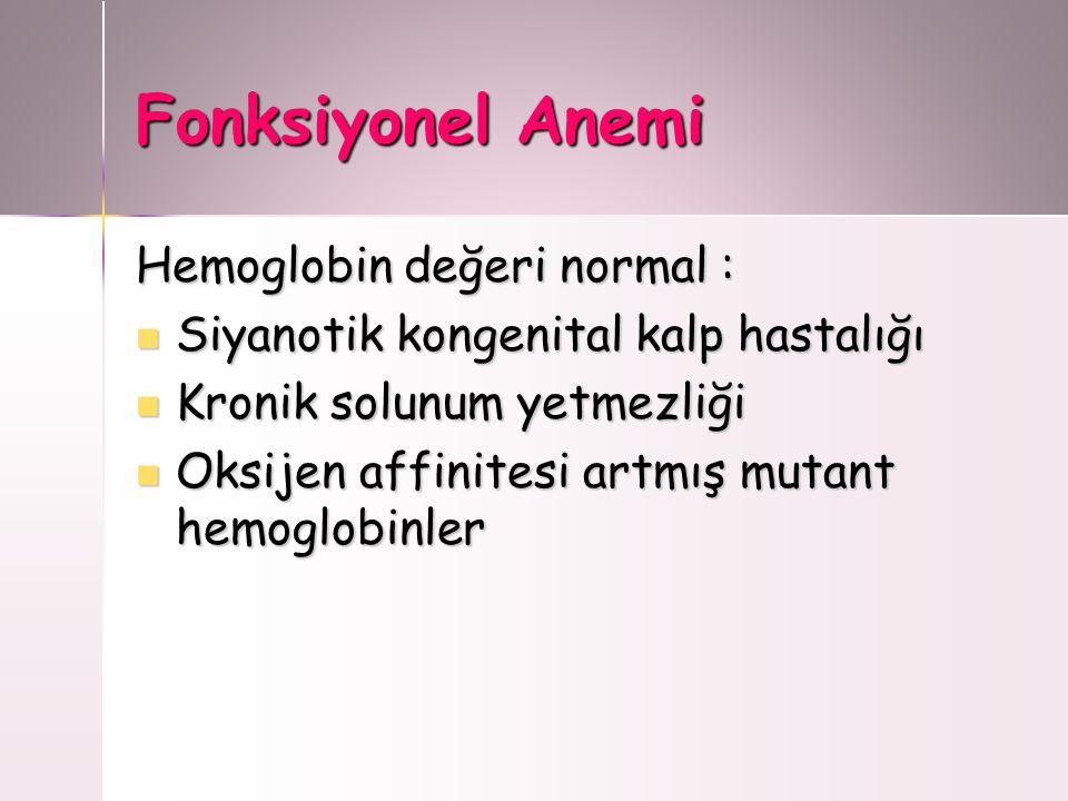 Fonksiyonel Anemi Hemoglobin değeri normal : Siyanotik kongenital kalp hastalığı Siyanotik kongenital kalp hastalığı Kronik solunum yetmezliği Kronik