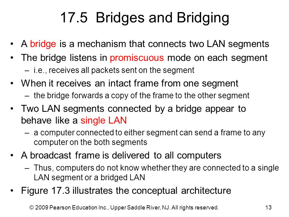 © 2009 Pearson Education Inc., Upper Saddle River, NJ. All rights reserved.13 17.5 Bridges and Bridging A bridge is a mechanism that connects two LAN