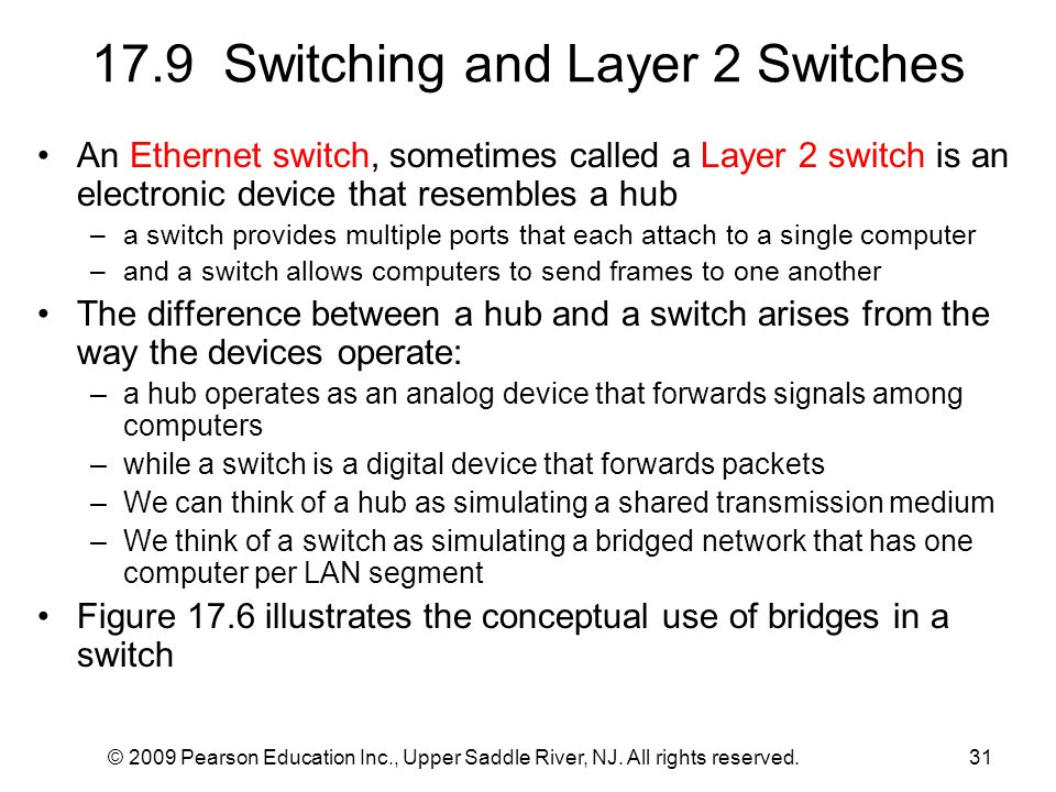 © 2009 Pearson Education Inc., Upper Saddle River, NJ. All rights reserved.31 17.9 Switching and Layer 2 Switches An Ethernet switch, sometimes called