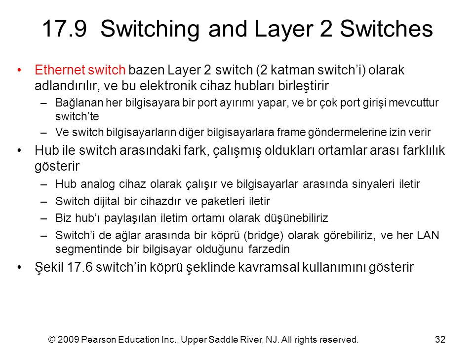 © 2009 Pearson Education Inc., Upper Saddle River, NJ. All rights reserved.32 17.9 Switching and Layer 2 Switches Ethernet switch bazen Layer 2 switch