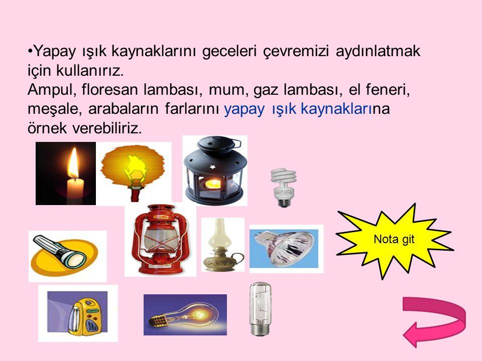 Yapay Işık Kaynakları: İnsanlar tarafından çevreye ışık yaymak, aydınlatmak için yapılan ışık kaynaklarına yapay ışık kaynakları denir.