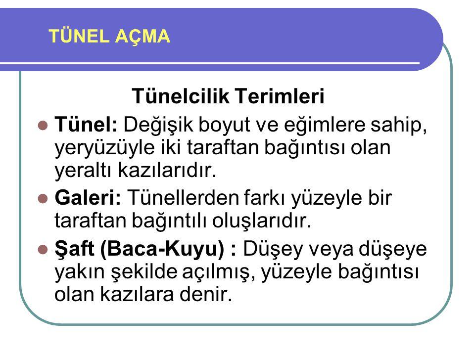 TÜNEL AÇMA Tünelcilik Terimleri Tünel: Değişik boyut ve eğimlere sahip, yeryüzüyle iki taraftan bağıntısı olan yeraltı kazılarıdır. Galeri: Tünellerde