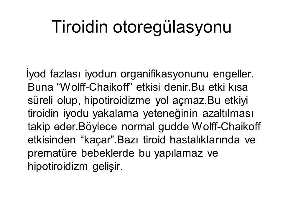 Tiroidin otoregülasyonu İyod fazlası iyodun organifikasyonunu engeller.
