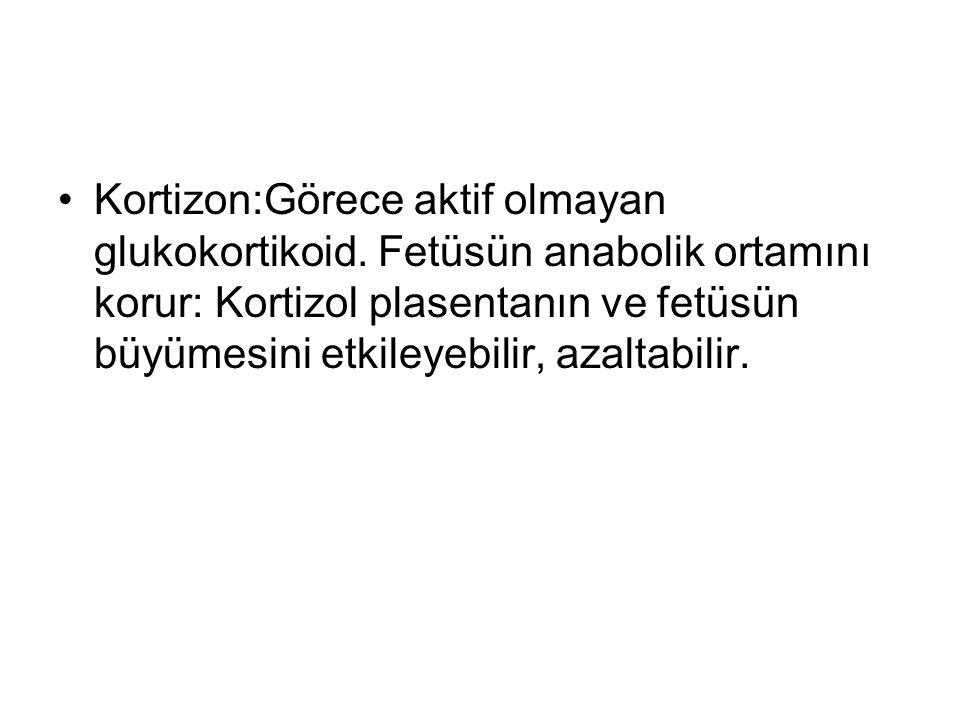 Kortizon:Görece aktif olmayan glukokortikoid.