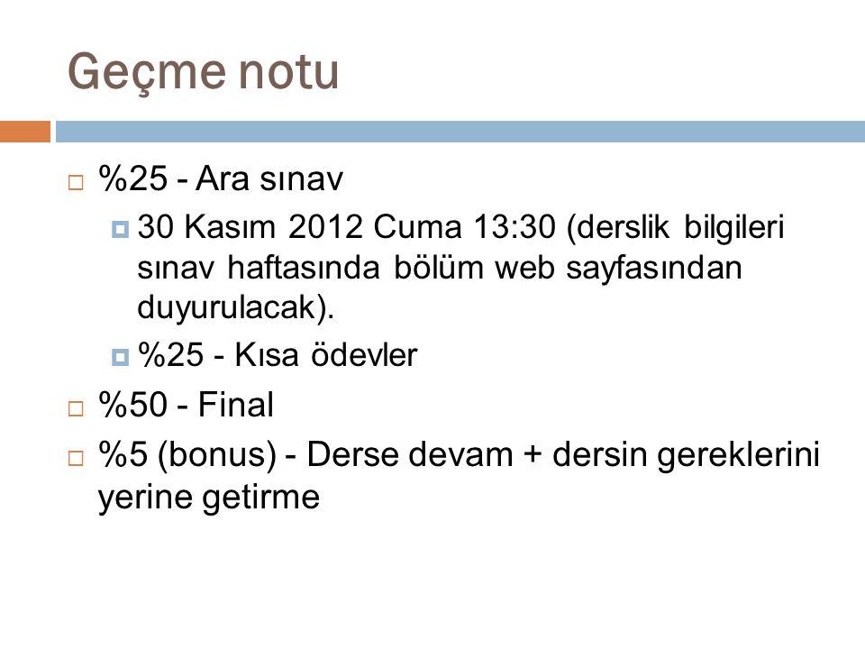 Geçme notu  %25 - Ara sınav  30 Kasım 2012 Cuma 13:30 (derslik bilgileri sınav haftasında bölüm web sayfasından duyurulacak).  %25 - Kısa ödevler 