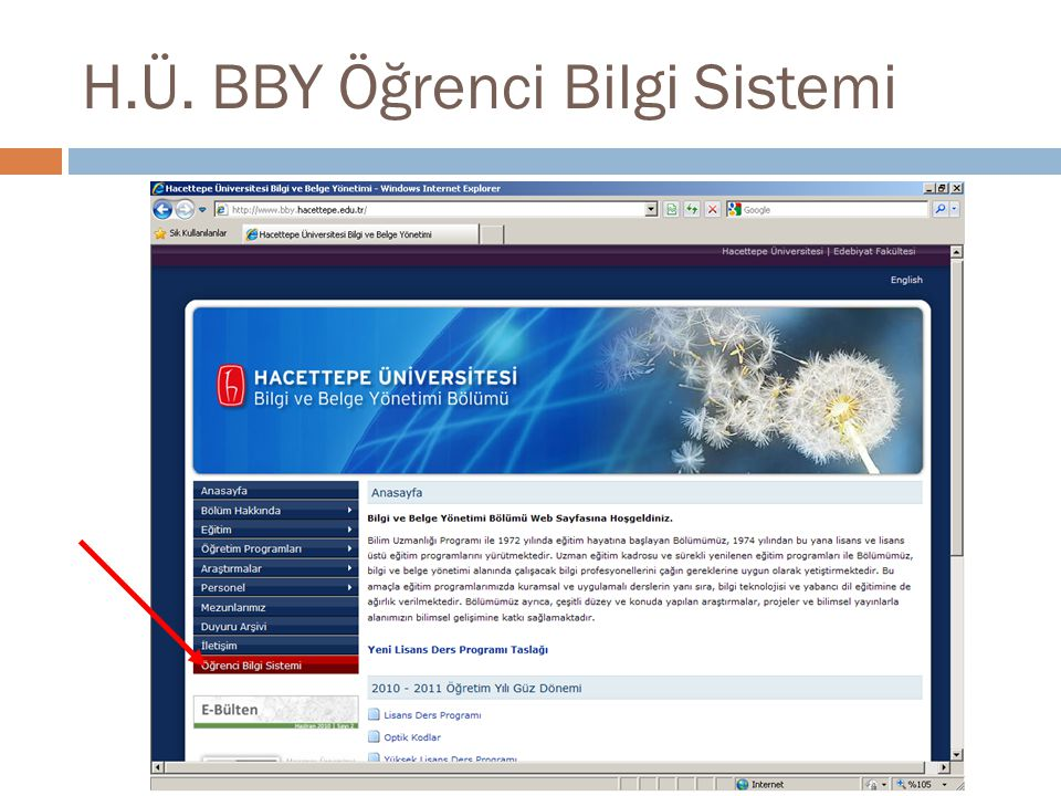 H.Ü. BBY Öğrenci Bilgi Sistemi