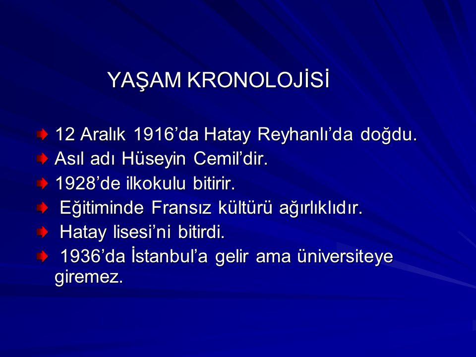 YAŞAM KRONOLOJİSİ YAŞAM KRONOLOJİSİ 12 Aralık 1916'da Hatay Reyhanlı'da doğdu.