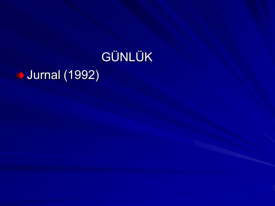 GÜNLÜK GÜNLÜK Jurnal (1992)
