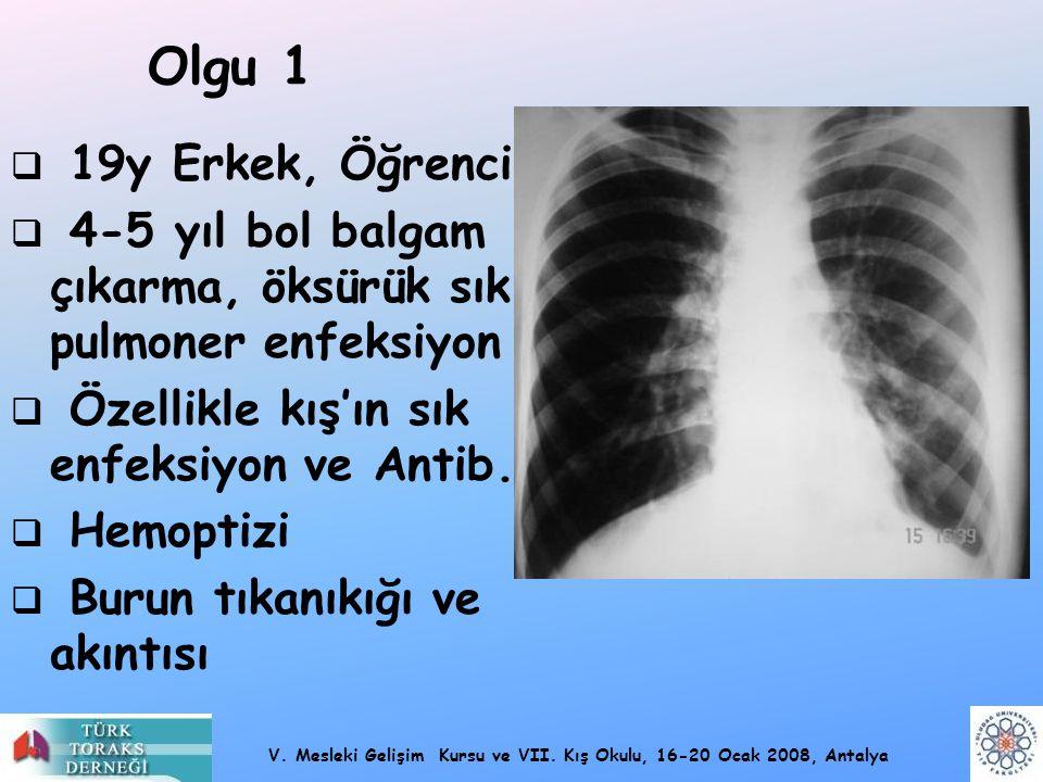 V. Mesleki Gelişim Kursu ve VII. Kış Okulu, 16-20 Ocak 2008, Antalya Olgu 1  19y Erkek, Öğrenci  4-5 yıl bol balgam çıkarma, öksürük sık pulmoner en