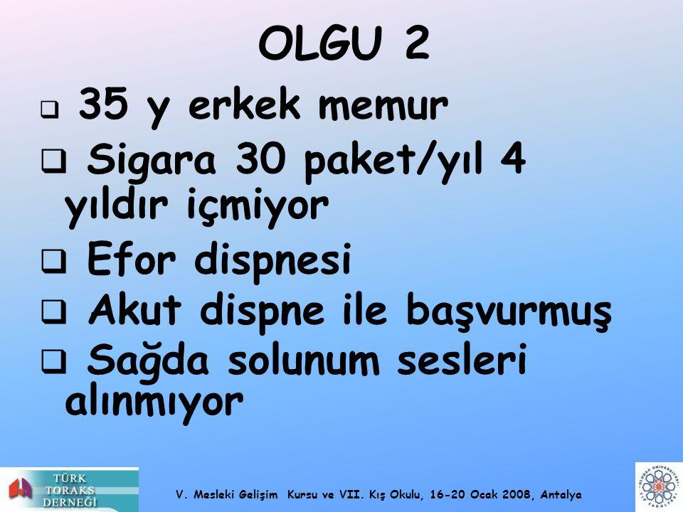 V. Mesleki Gelişim Kursu ve VII. Kış Okulu, 16-20 Ocak 2008, Antalya OLGU 2  35 y erkek memur  Sigara 30 paket/yıl 4 yıldır içmiyor  Efor dispnesi
