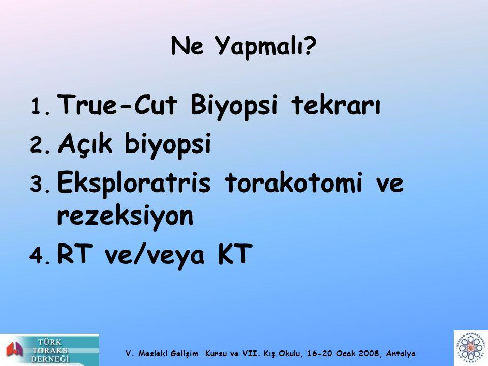 V. Mesleki Gelişim Kursu ve VII. Kış Okulu, 16-20 Ocak 2008, Antalya Ne Yapmalı? 1. True-Cut Biyopsi tekrarı 2. Açık biyopsi 3. Eksploratris torakotom