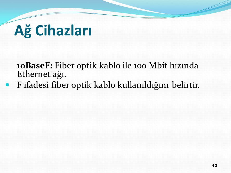 13 10BaseF: Fiber optik kablo ile 100 Mbit hızında Ethernet ağı. F ifadesi fiber optik kablo kullanıldığını belirtir. Ağ Cihazları