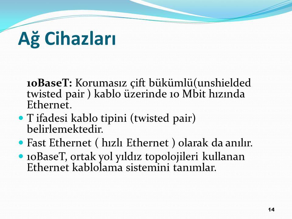 14 10BaseT: Korumasız çift bükümlü(unshielded twisted pair ) kablo üzerinde 10 Mbit hızında Ethernet. T ifadesi kablo tipini (twisted pair) belirlemek