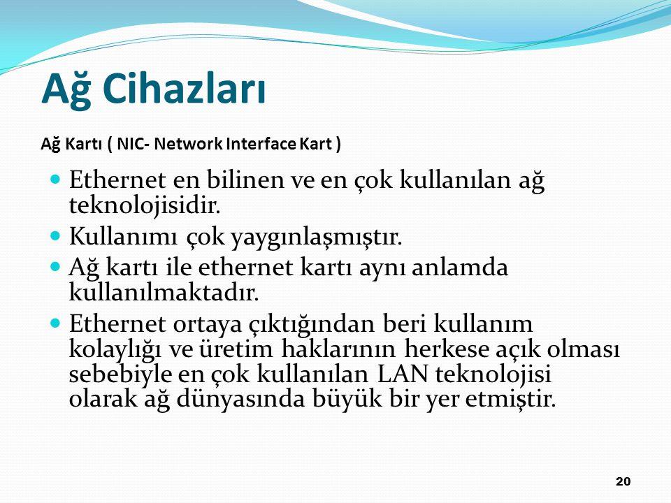 20 Ethernet en bilinen ve en çok kullanılan ağ teknolojisidir. Kullanımı çok yaygınlaşmıştır. Ağ kartı ile ethernet kartı aynı anlamda kullanılmaktadı
