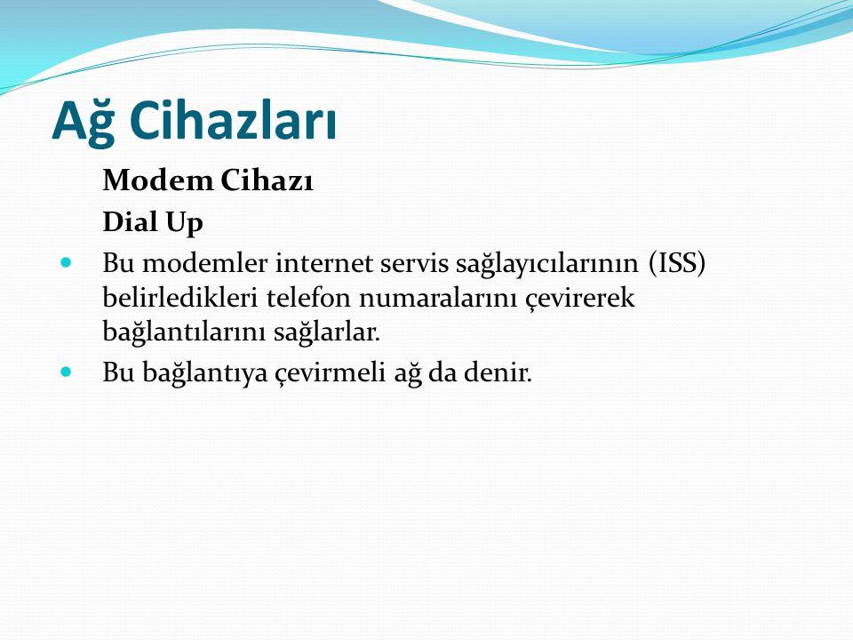 Ağ Cihazları Modem Cihazı Dial Up Bu modemler internet servis sağlayıcılarının (ISS) belirledikleri telefon numaralarını çevirerek bağlantılarını sağl