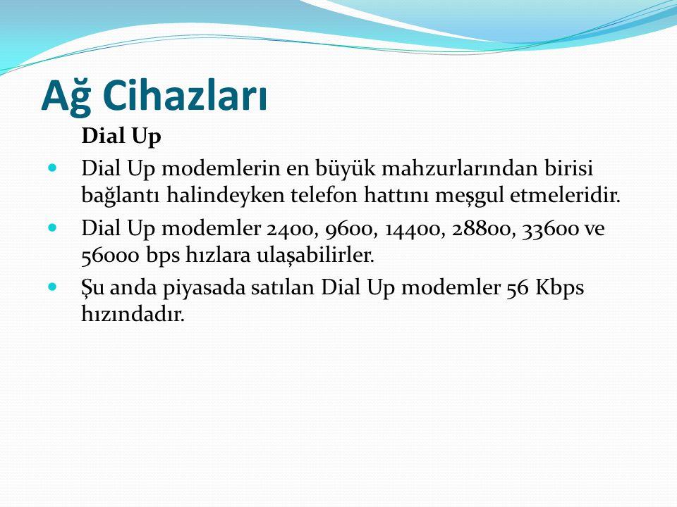 Ağ Cihazları Dial Up Dial Up modemlerin en büyük mahzurlarından birisi bağlantı halindeyken telefon hattını meşgul etmeleridir. Dial Up modemler 2400,
