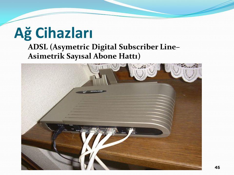 45 Ağ Cihazları ADSL (Asymetric Digital Subscriber Line– Asimetrik Sayısal Abone Hattı)