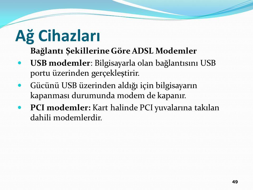 49 Ağ Cihazları Bağlantı Şekillerine Göre ADSL Modemler USB modemler: Bilgisayarla olan bağlantısını USB portu üzerinden gerçekleştirir. Gücünü USB üz