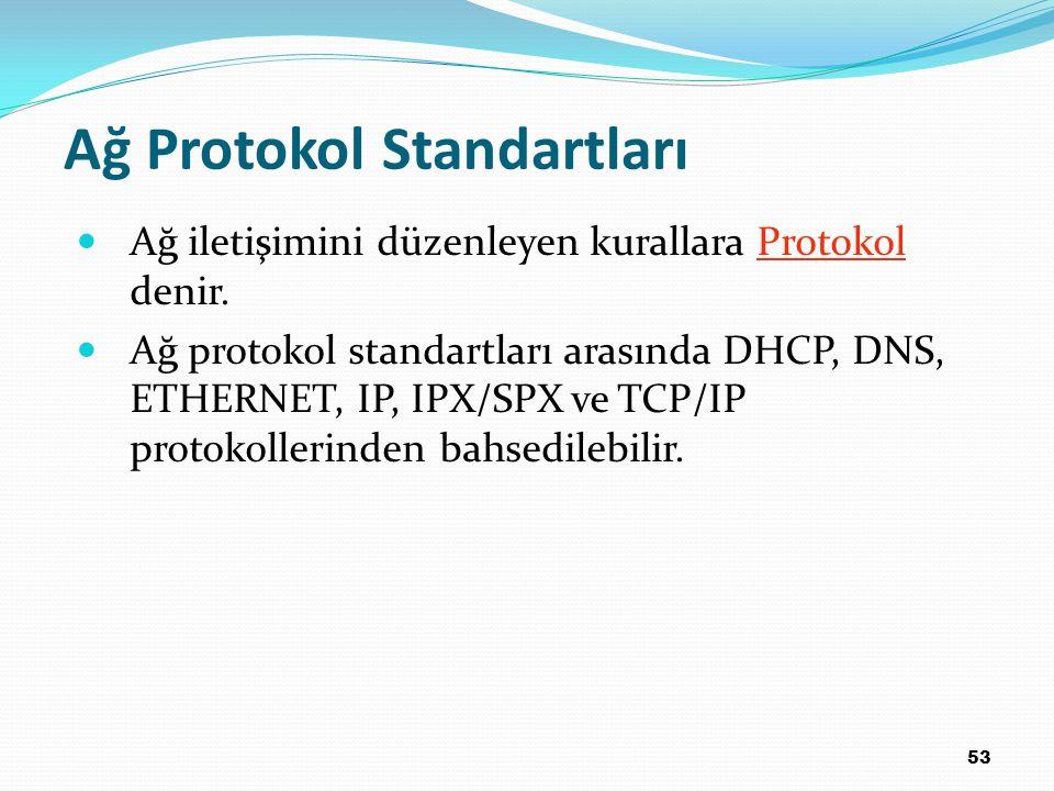 53 Ağ Protokol Standartları Ağ iletişimini düzenleyen kurallara Protokol denir. Ağ protokol standartları arasında DHCP, DNS, ETHERNET, IP, IPX/SPX ve