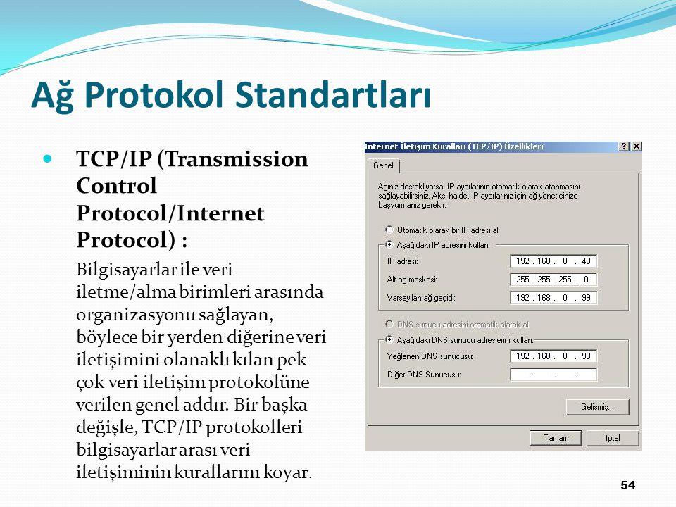 54 Ağ Protokol Standartları TCP/IP (Transmission Control Protocol/Internet Protocol) : Bilgisayarlar ile veri iletme/alma birimleri arasında organizasyonu sağlayan, böylece bir yerden diğerine veri iletişimini olanaklı kılan pek çok veri iletişim protokolüne verilen genel addır.