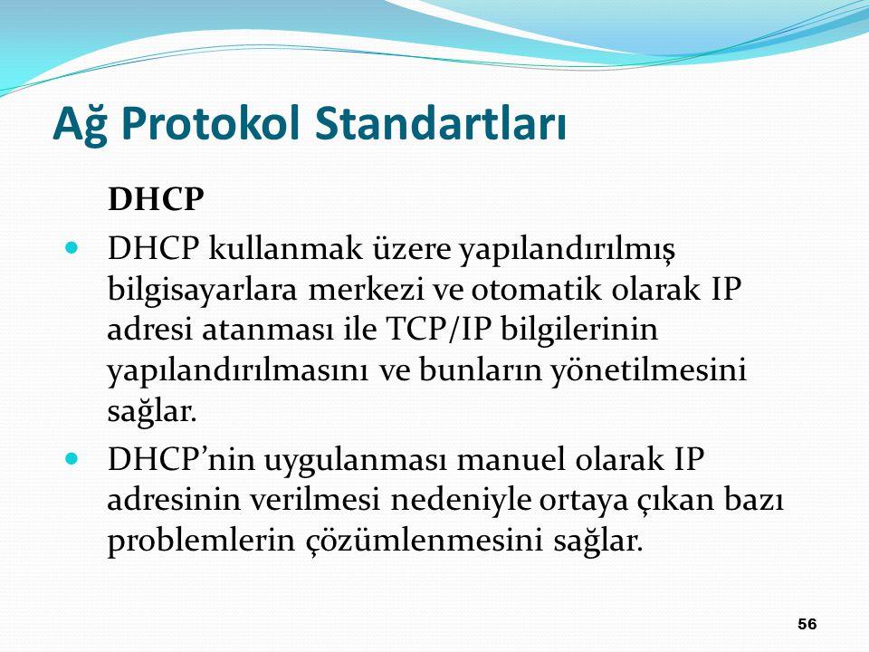 56 Ağ Protokol Standartları DHCP DHCP kullanmak üzere yapılandırılmış bilgisayarlara merkezi ve otomatik olarak IP adresi atanması ile TCP/IP bilgilerinin yapılandırılmasını ve bunların yönetilmesini sağlar.