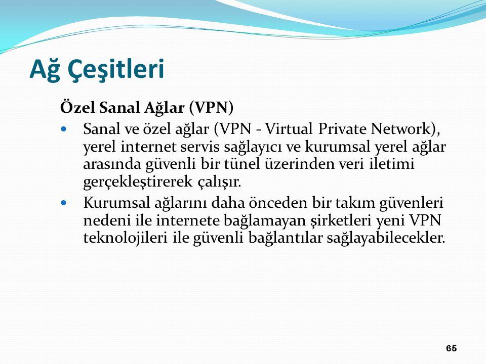 65 Ağ Çeşitleri Özel Sanal Ağlar (VPN) Sanal ve özel ağlar (VPN - Virtual Private Network), yerel internet servis sağlayıcı ve kurumsal yerel ağlar arasında güvenli bir tünel üzerinden veri iletimi gerçekleştirerek çalışır.
