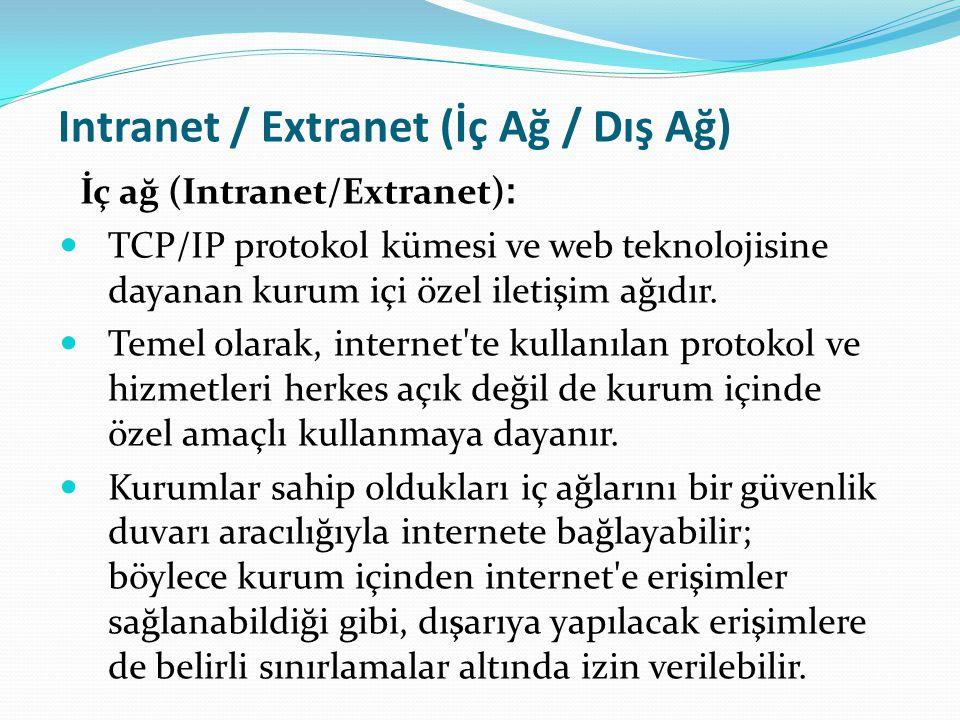 Intranet / Extranet (İç Ağ / Dış Ağ) İç ağ (Intranet/Extranet) : TCP/IP protokol kümesi ve web teknolojisine dayanan kurum içi özel iletişim ağıdır. T
