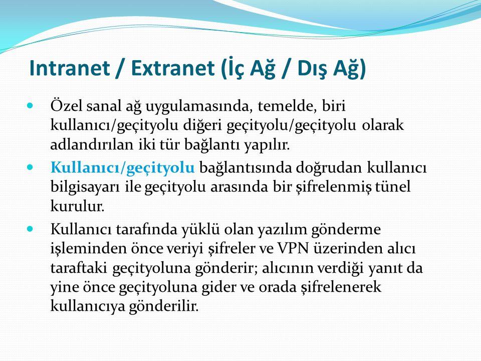 Intranet / Extranet (İç Ağ / Dış Ağ) Özel sanal ağ uygulamasında, temelde, biri kullanıcı/geçityolu diğeri geçityolu/geçityolu olarak adlandırılan iki tür bağlantı yapılır.