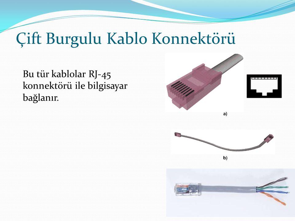 9 Çift Burgulu Kablo Konnektörü Bu tür kablolar RJ-45 konnektörü ile bilgisayar bağlanır.