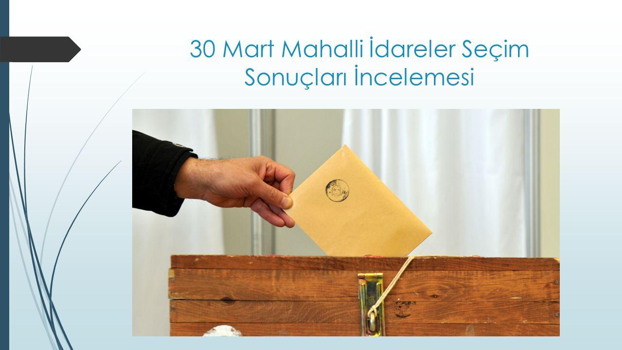 30 Mart Mahalli İdareler Seçim Sonuçları İncelemesi