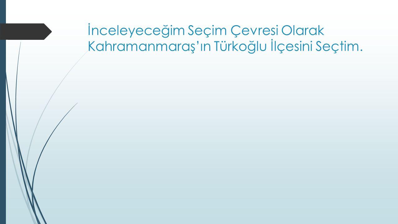 İnceleyeceğim Seçim Çevresi Olarak Kahramanmaraş'ın Türkoğlu İlçesini Seçtim.
