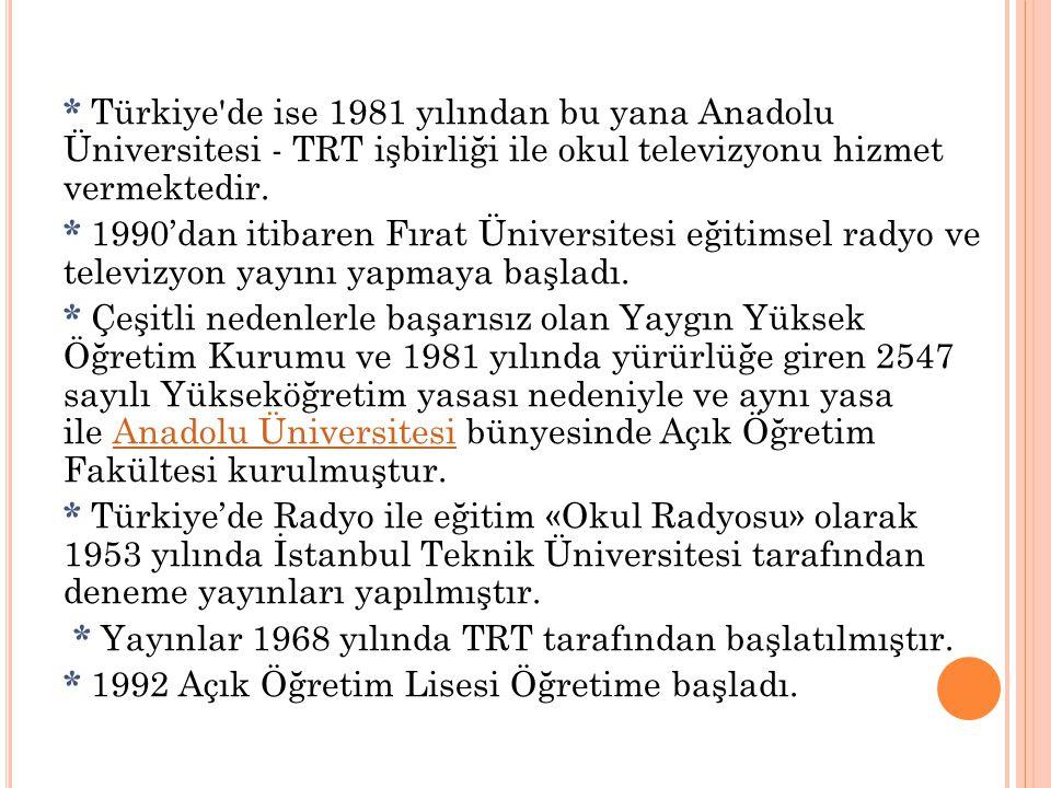 * Türkiye'de ise 1981 yılından bu yana Anadolu Üniversitesi - TRT işbirliği ile okul televizyonu hizmet vermektedir. * 1990'dan itibaren Fırat Ünivers