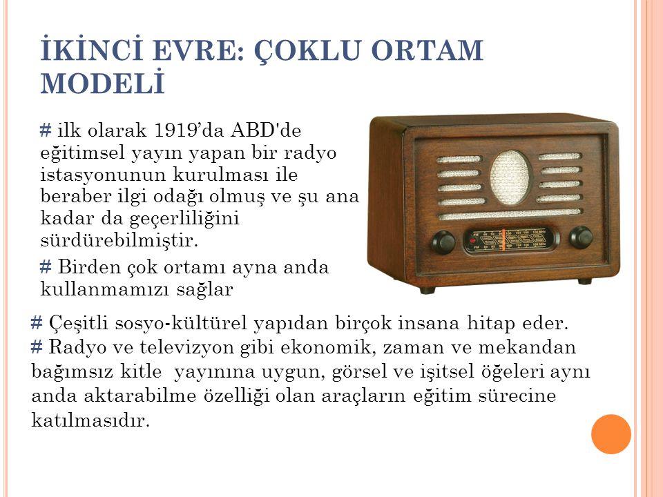 İKİNCİ EVRE: ÇOKLU ORTAM MODELİ # ilk olarak 1919'da ABD'de eğitimsel yayın yapan bir radyo istasyonunun kurulması ile beraber ilgi odağı olmuş ve şu