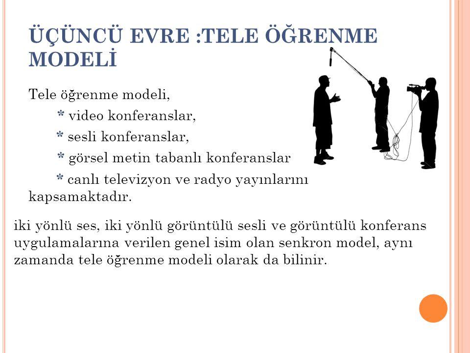 ÜÇÜNCÜ EVRE :TELE ÖĞRENME MODELİ Tele öğrenme modeli, * video konferanslar, * sesli konferanslar, * görsel metin tabanlı konferanslar * canlı televizy