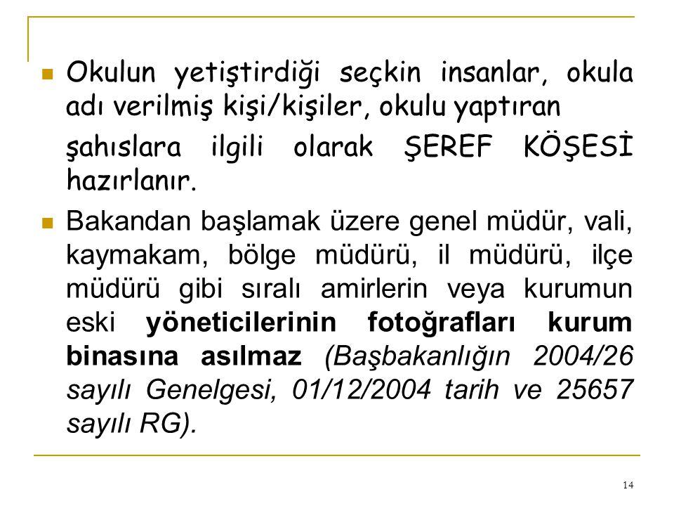 13 Koridorların uygun yerlerine: -- Kahramanlık Tabloları: (Preveze Deniz Savaşı, Mohaç Savaşı, İstanbul'un Fethi, İstiklâl Savaşı) -- Türk Büyükleri: