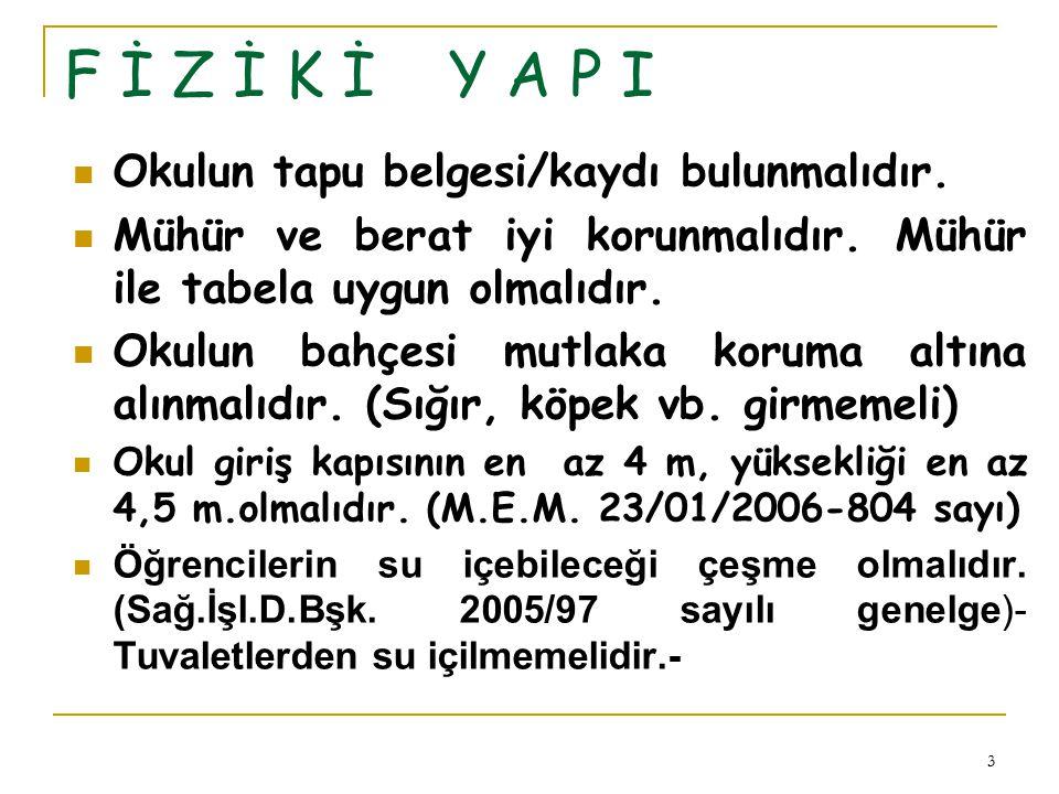 3 F İ Z İ K İ Y A P I Okulun tapu belgesi/kaydı bulunmalıdır.
