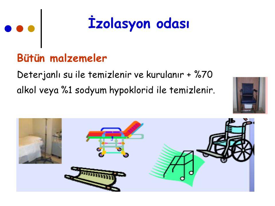 İzolasyon odası Bütün malzemeler Deterjanlı su ile temizlenir ve kurulanır + %70 alkol veya %1 sodyum hypoklorid ile temizlenir.