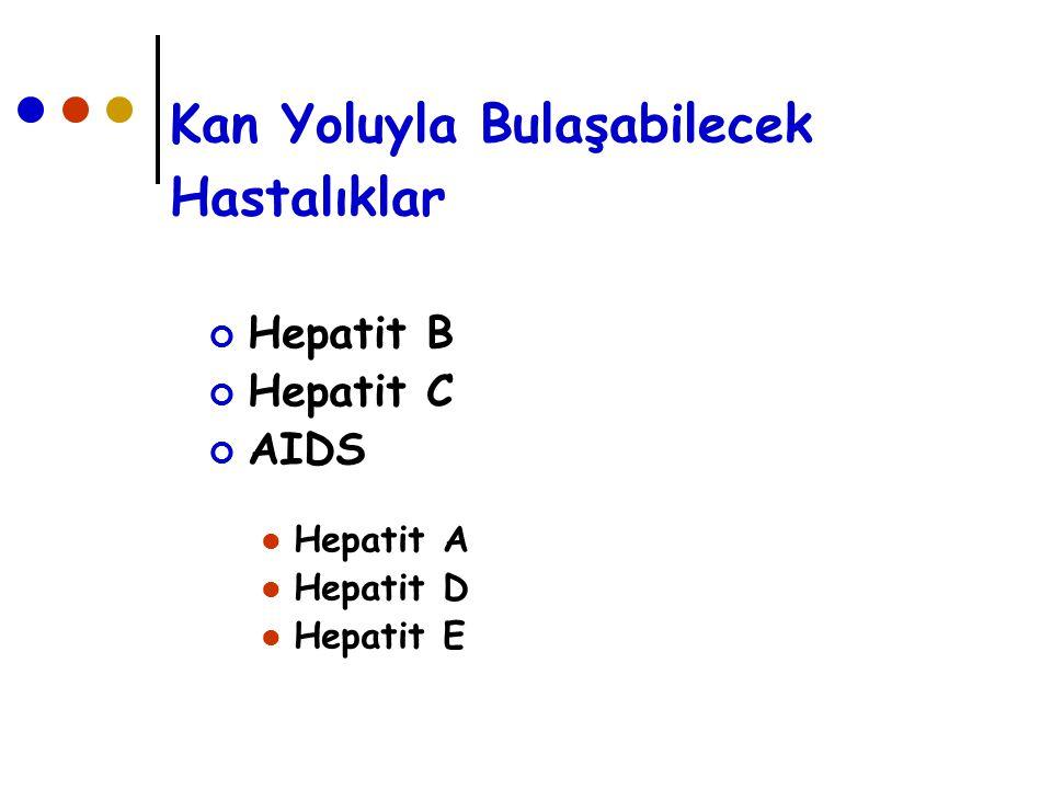 Kan Yoluyla Bulaşabilecek Hastalıklar Hepatit B Hepatit C AIDS Hepatit A Hepatit D Hepatit E