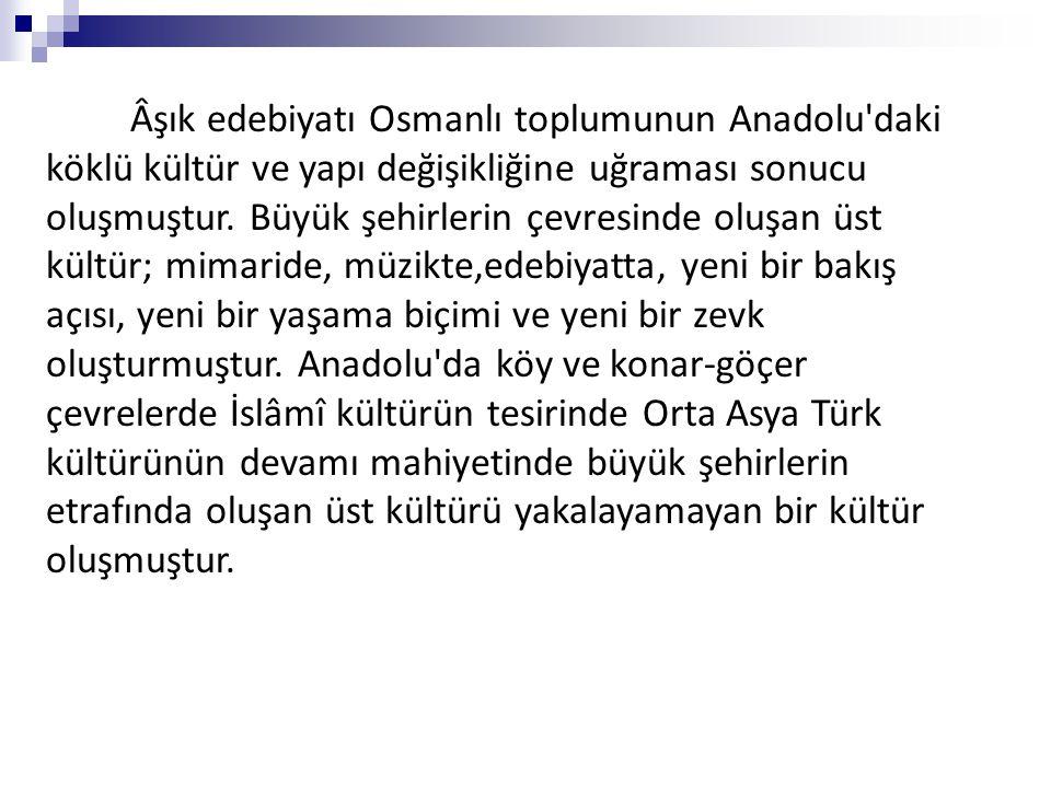 Âşık edebiyatı Osmanlı toplumunun Anadolu'daki köklü kültür ve yapı değişikliğine uğraması sonucu oluşmuştur. Büyük şehirlerin çevresinde oluşan üst k