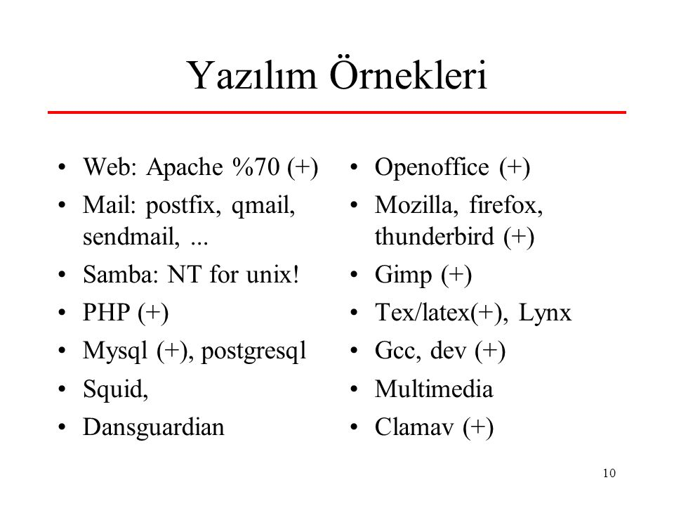 10 Yazılım Örnekleri Web: Apache %70 (+) Mail: postfix, qmail, sendmail,... Samba: NT for unix! PHP (+) Mysql (+), postgresql Squid, Dansguardian Open