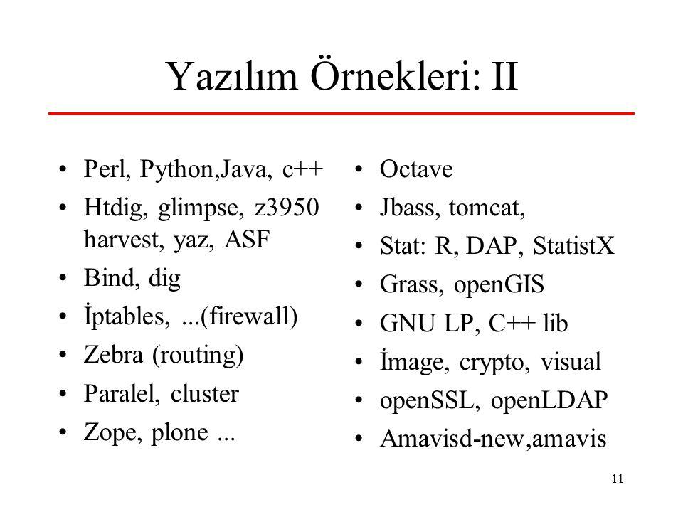 11 Yazılım Örnekleri: II Perl, Python,Java, c++ Htdig, glimpse, z3950 harvest, yaz, ASF Bind, dig İptables,...(firewall) Zebra (routing) Paralel, cluster Zope, plone...