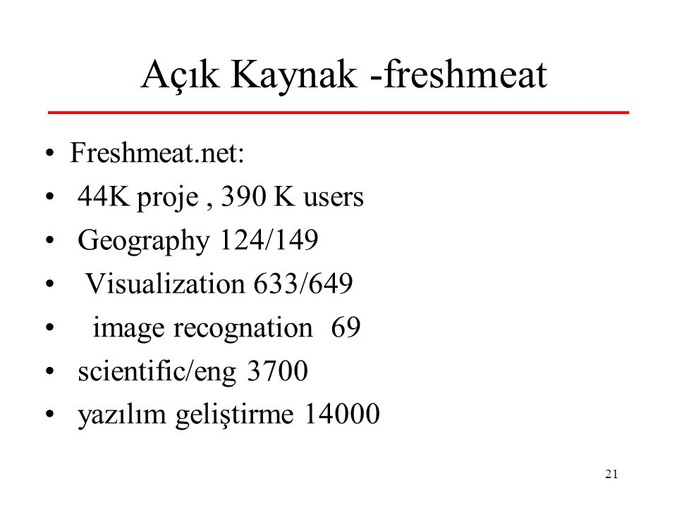 21 Açık Kaynak -freshmeat Freshmeat.net: 44K proje, 390 K users Geography 124/149 Visualization 633/649 image recognation 69 scientific/eng 3700 yazılım geliştirme 14000