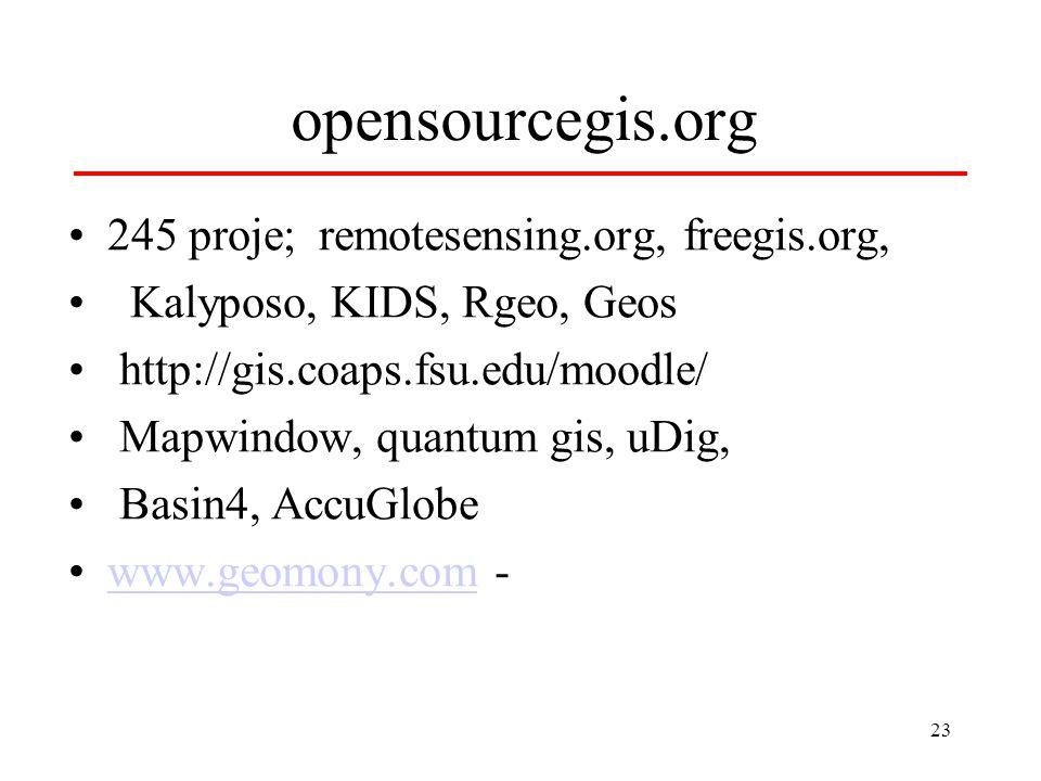 23 opensourcegis.org 245 proje; remotesensing.org, freegis.org, Kalyposo, KIDS, Rgeo, Geos http://gis.coaps.fsu.edu/moodle/ Mapwindow, quantum gis, uDig, Basin4, AccuGlobe www.geomony.com -www.geomony.com