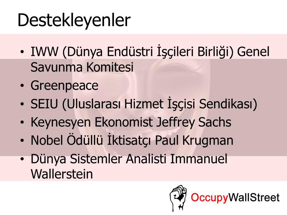 Destekleyenler IWW (Dünya Endüstri İşçileri Birliği) Genel Savunma Komitesi Greenpeace SEIU (Uluslarası Hizmet İşçisi Sendikası) Keynesyen Ekonomist J