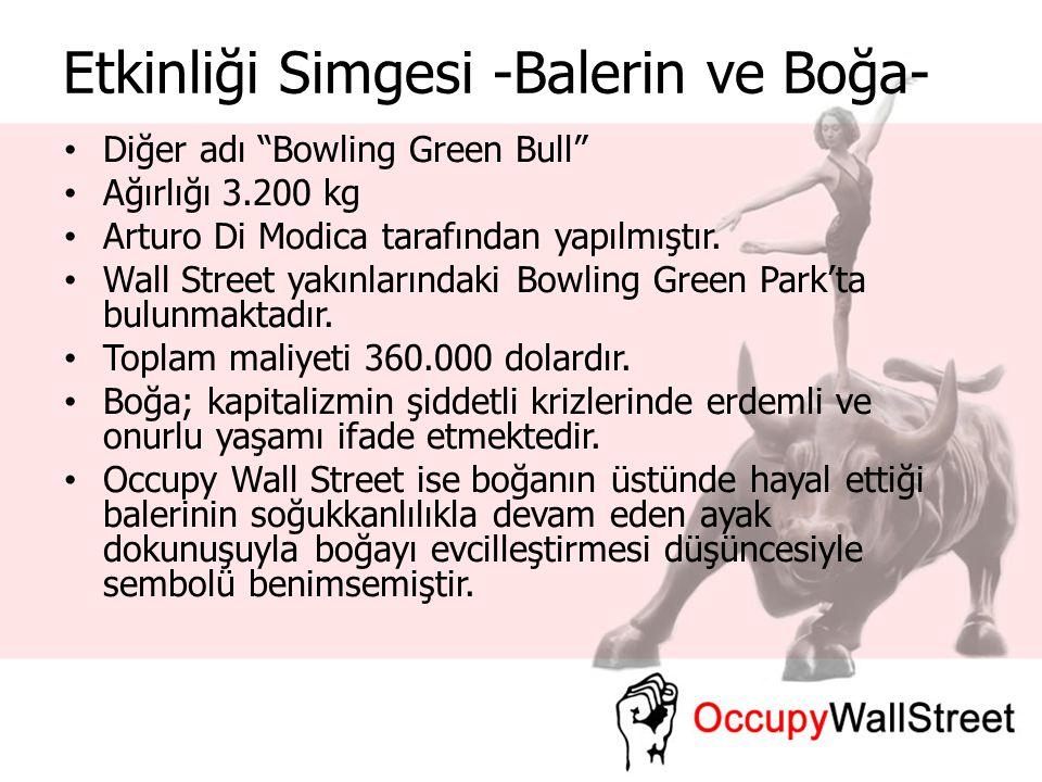 """Etkinliği Simgesi -Balerin ve Boğa- Diğer adı """"Bowling Green Bull"""" Ağırlığı 3.200 kg Arturo Di Modica tarafından yapılmıştır. Wall Street yakınlarında"""