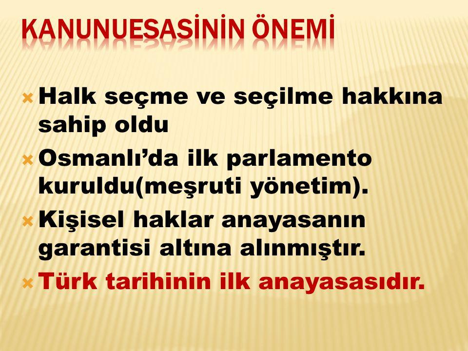  Halk seçme ve seçilme hakkına sahip oldu  Osmanlı'da ilk parlamento kuruldu(meşruti yönetim).  Kişisel haklar anayasanın garantisi altına alınmışt