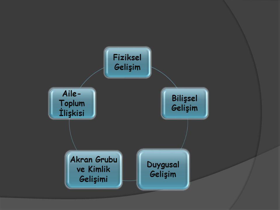 Fiziksel Gelişim Bilişsel Gelişim Duygusal Gelişim Akran Grubu ve Kimlik Gelişimi Aile- Toplum İlişkisi