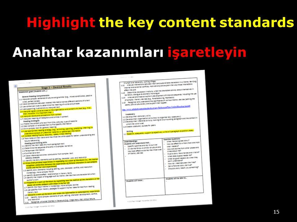 Highlight the key content standards 15 Anahtar kazanımları işaretleyin